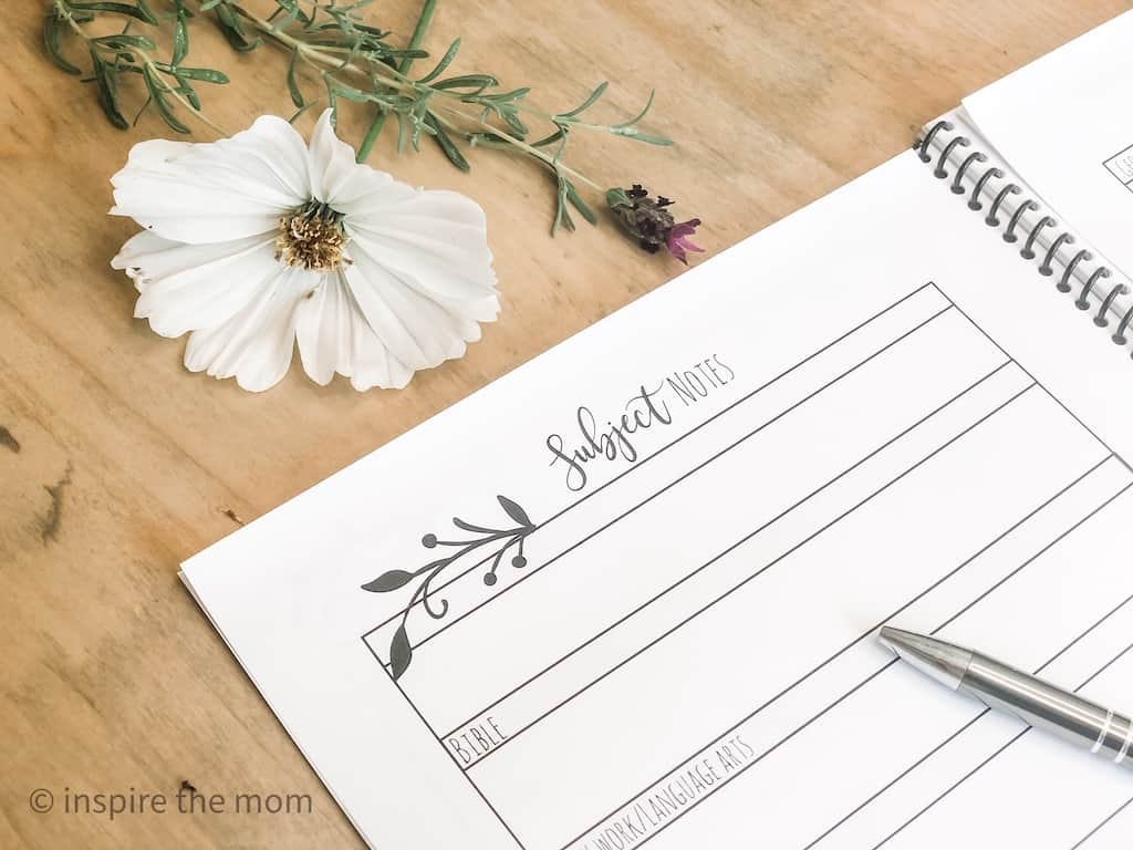 homeschool planner subjects page