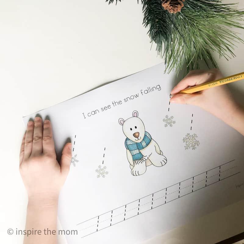 winter prewriting bear page