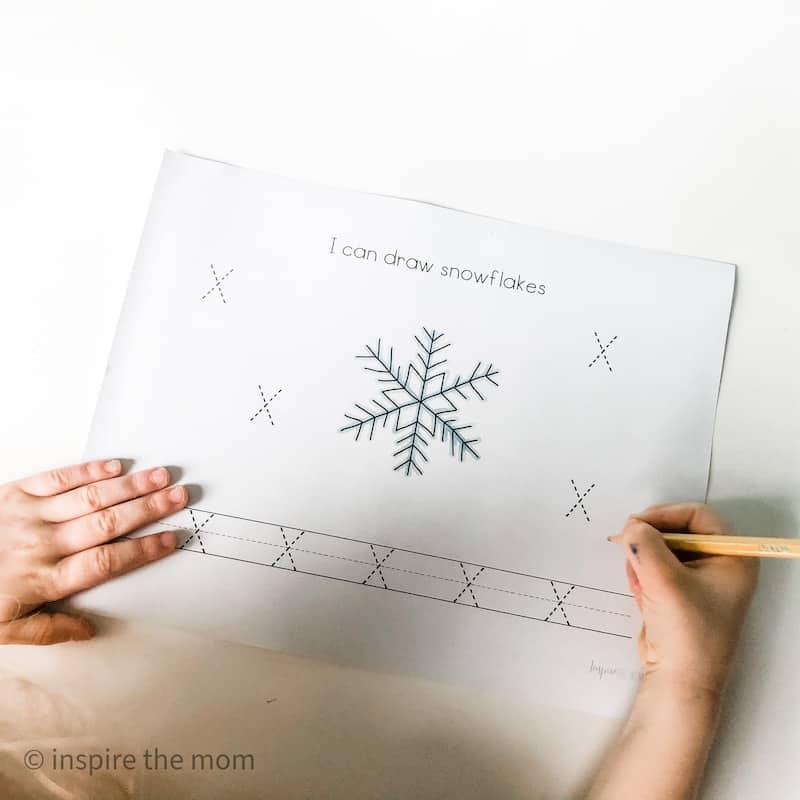 snowflake winter prewriting page