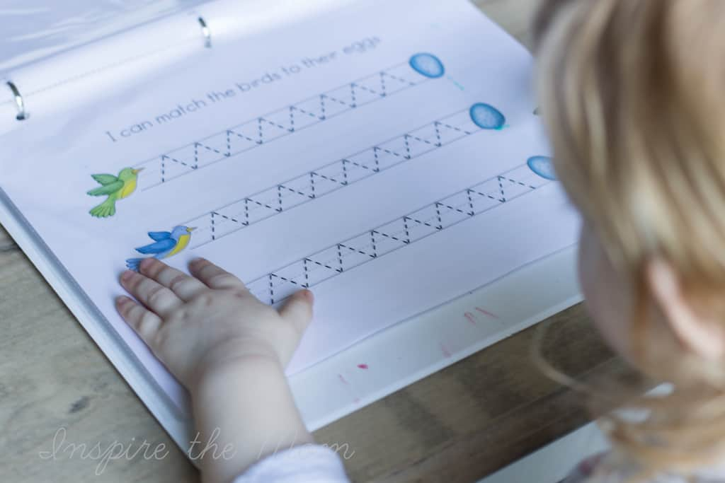 printable spring prewriting activities match the bird to the egg
