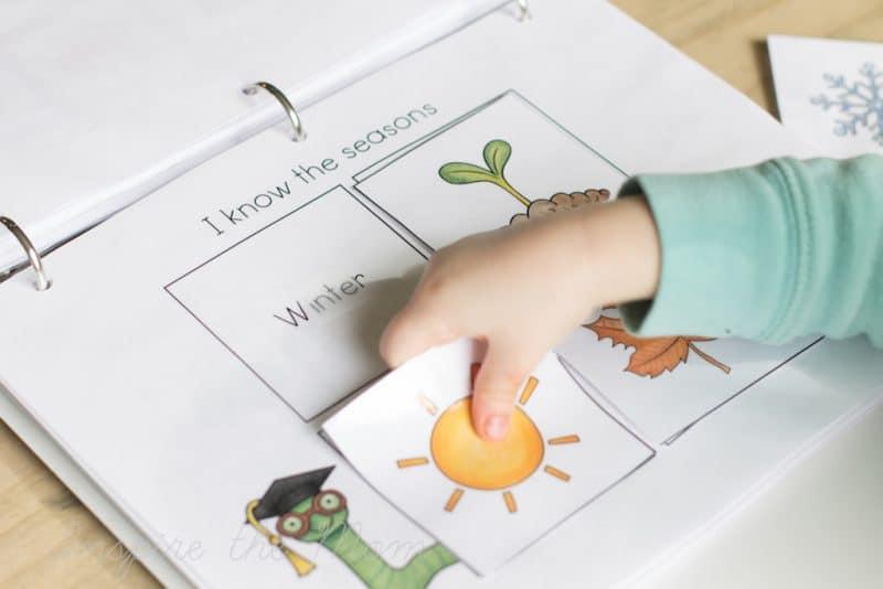 Preschool Learning Folder seasons page