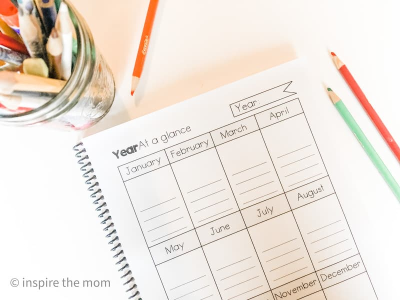 free homeschool student planner year at a glance page