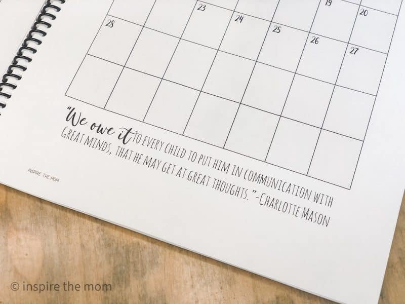 Charlotte mason planner quote on page