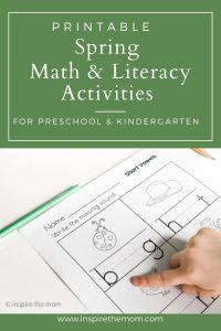 Spring math and literacy activities pin