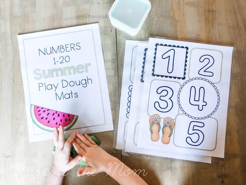 numbers play dough mats