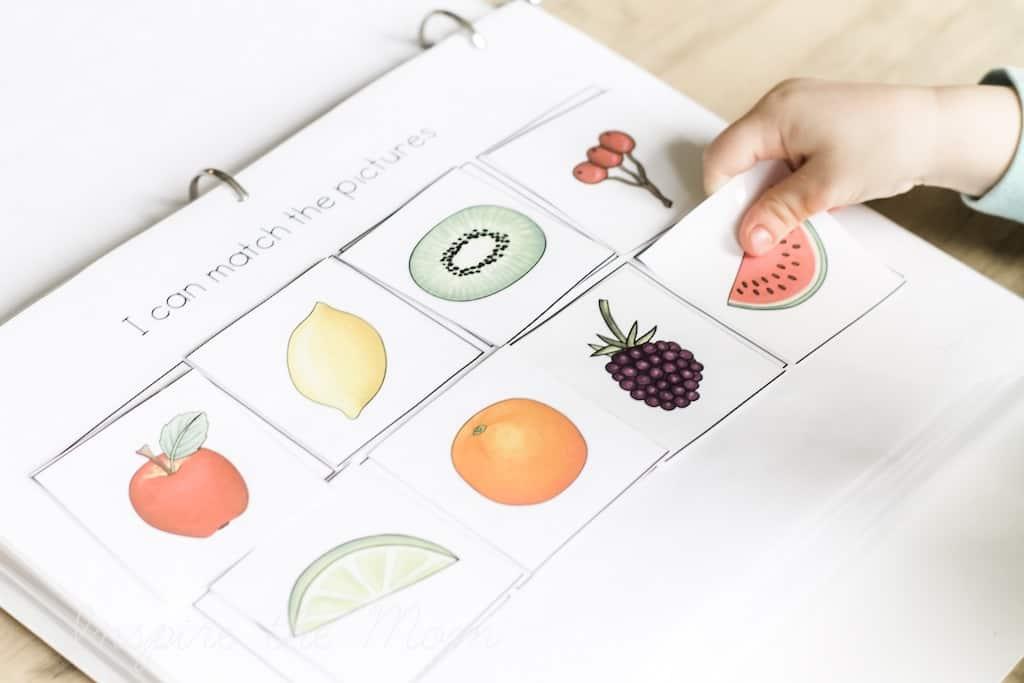 Inspire the mom's preschool learning folder fruit page