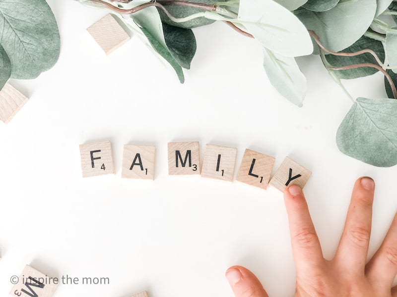 scrabble pieces spells the word family