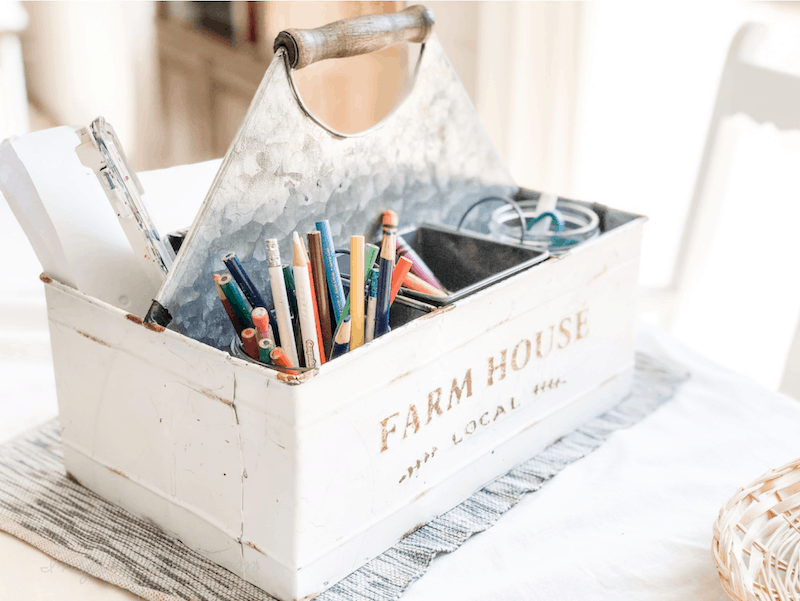supplies in a homeschool art caddy