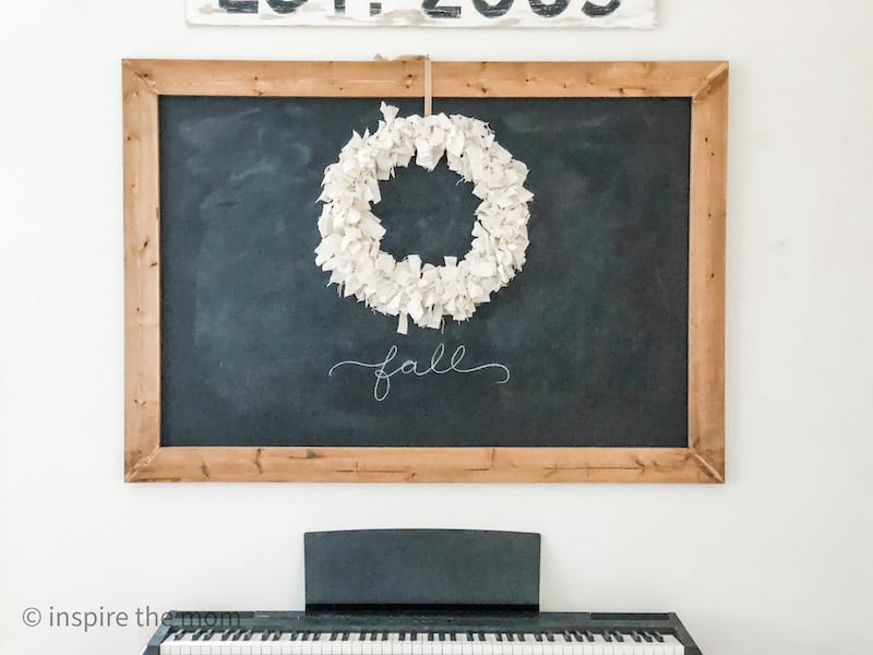 chalkboard with wreath