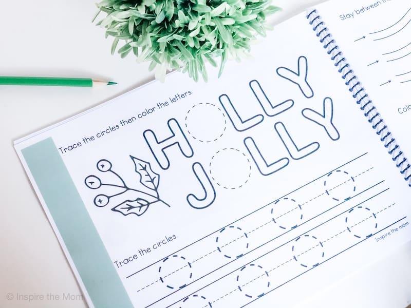 preschool Christmas prewriting page