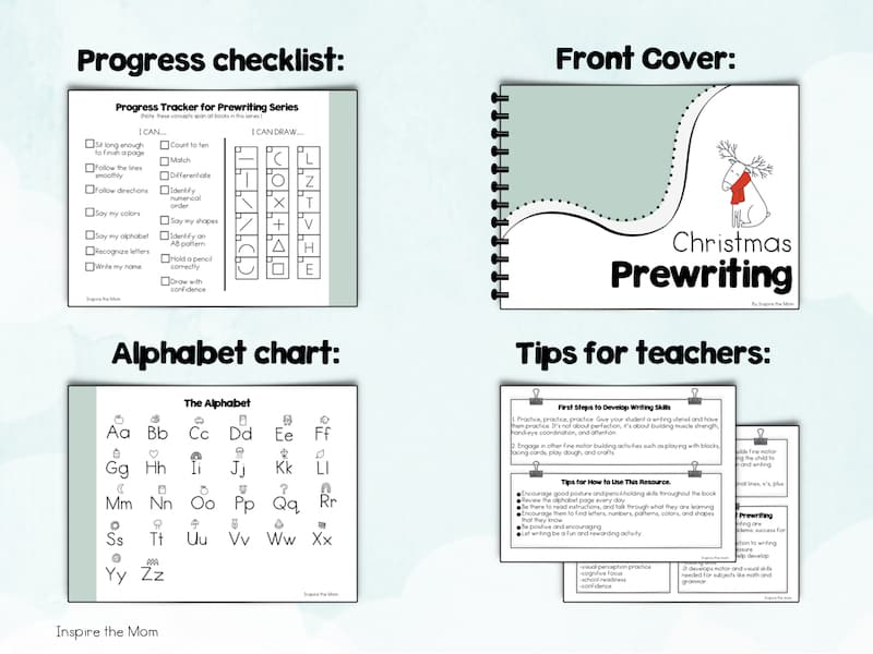 Preview of Preschool Christmas Prewriting