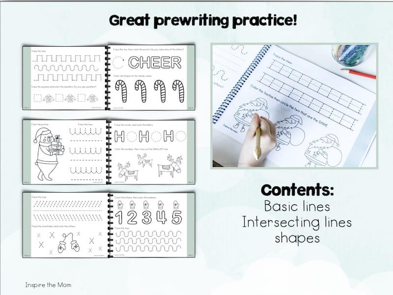 preschool christmas prewriting book preview