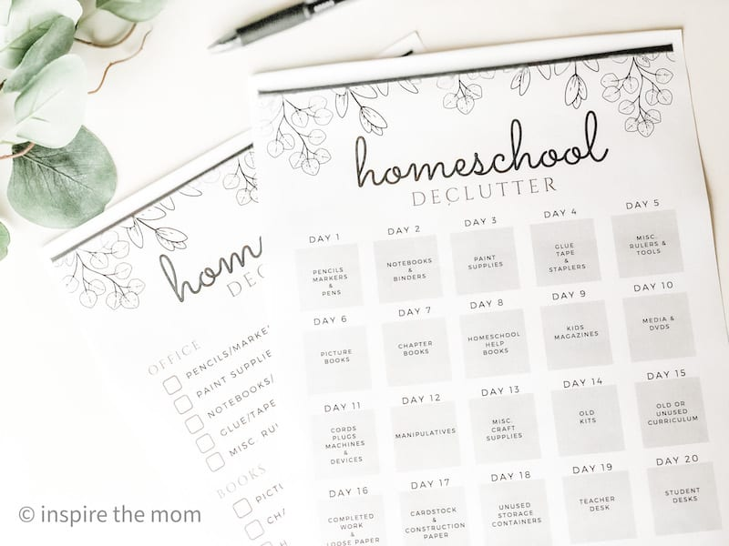 two page printable homeschool declutter