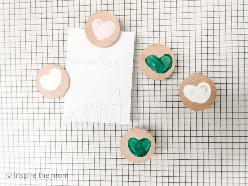 finger print heart magnets on board