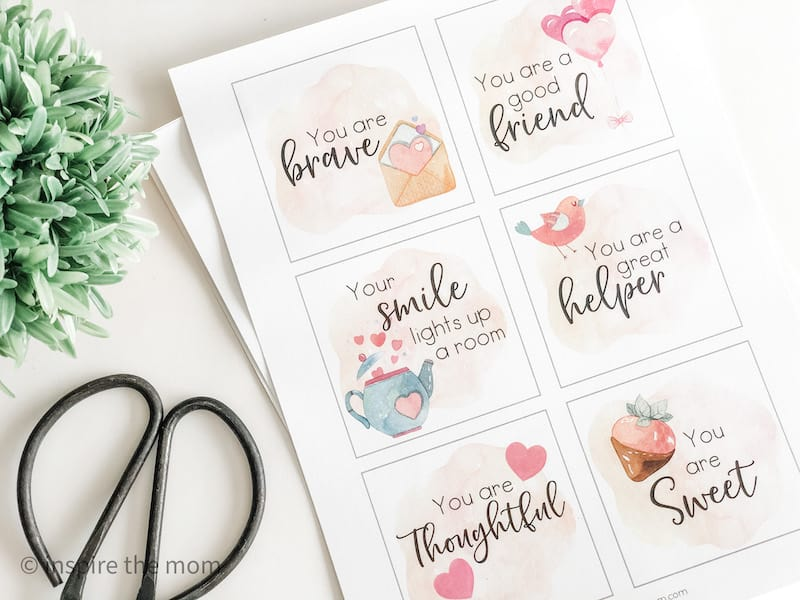 six printable affirmation cards