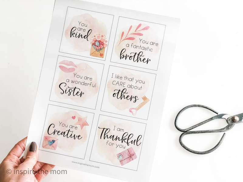 six affirmation cards and scissors