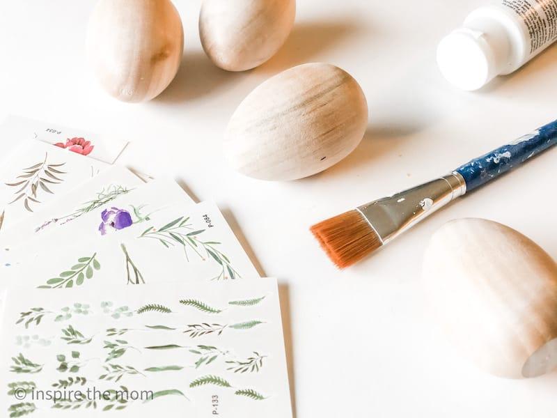 decorating wooden eggs materials