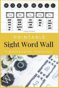 printable sight word wall pin kindergarten resource