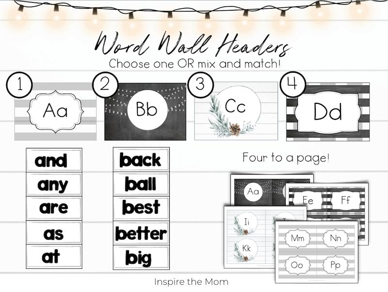 word wall header options