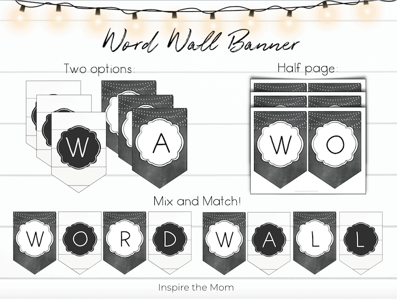 farmhouse word wall banner options