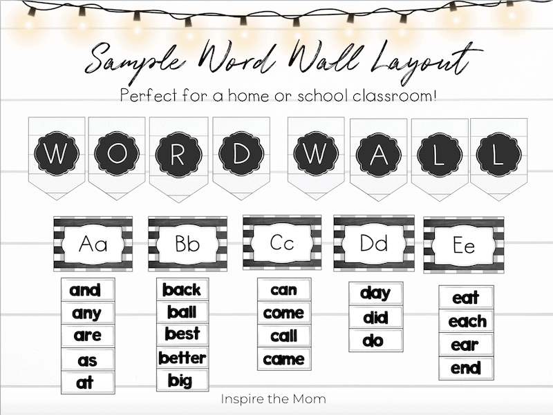 sample layout of farmhouse word wall