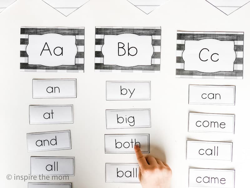 pointing to farmhouse word wall