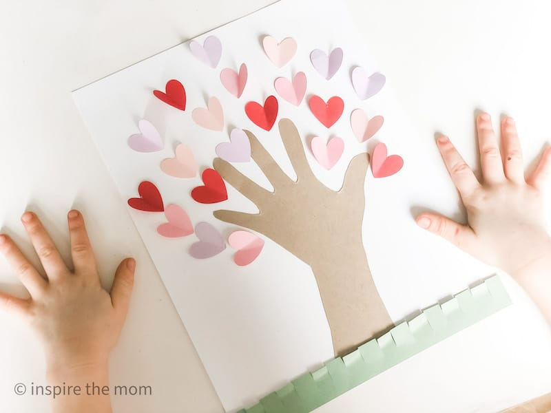 handprint heart tree craft completed