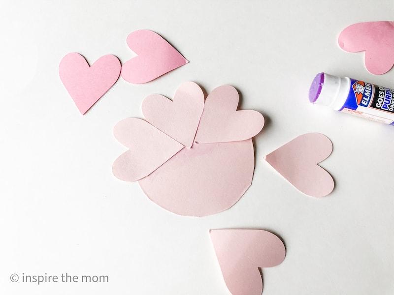 3D paper heart flowers craft step