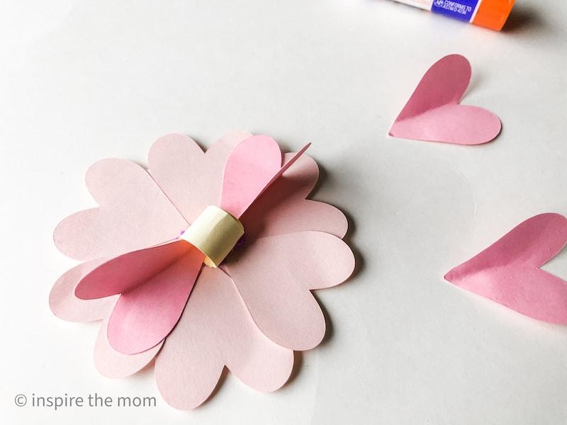 Assembling paper heart flower