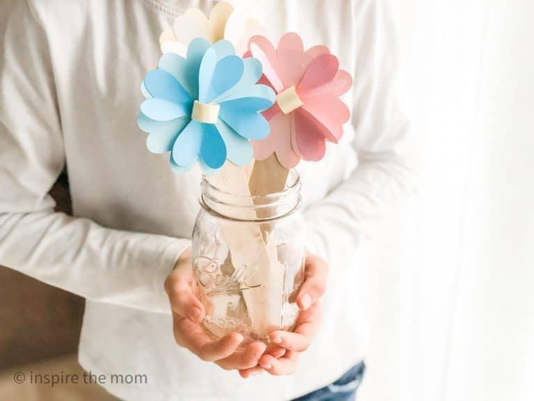 3D paper heart flower craft for kids finished