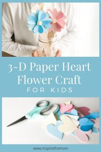 3d paper heart flowers pin