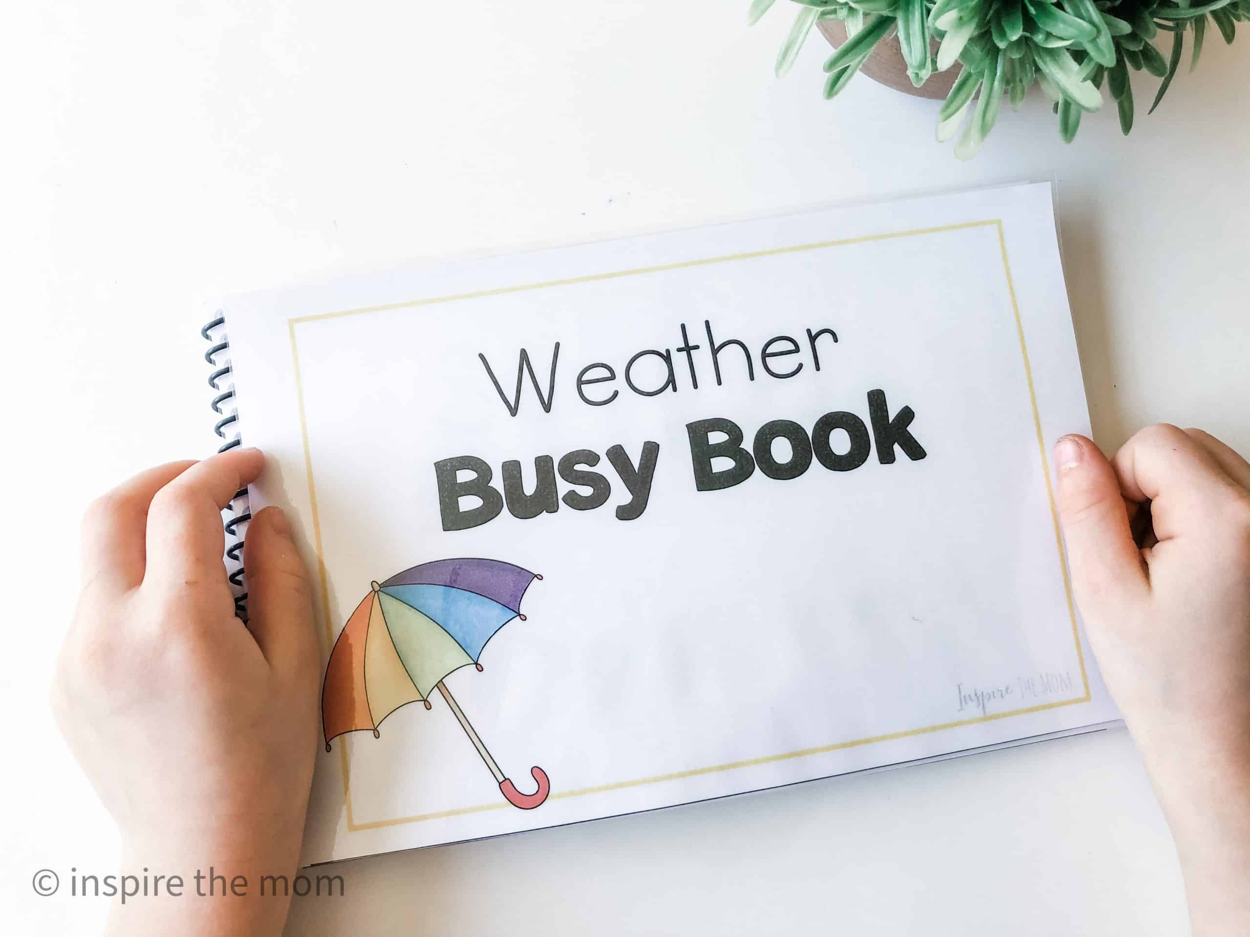 Printable weather busy book cover