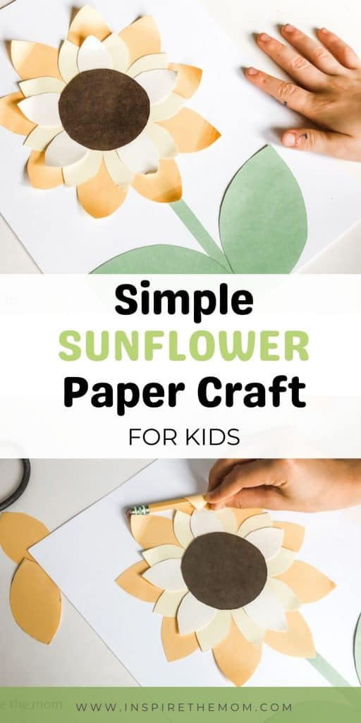 sunflower paper craft for kids pin