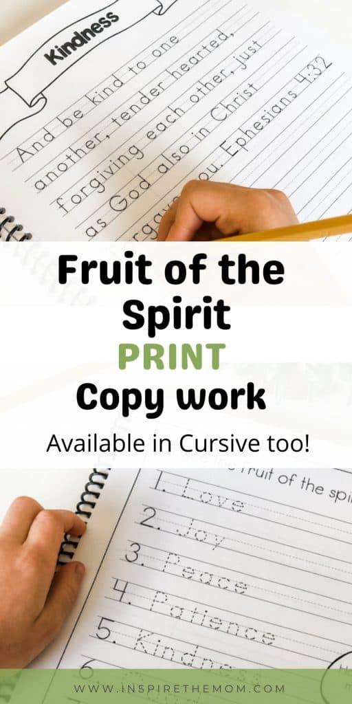 fruit of the spirit print copywork pin