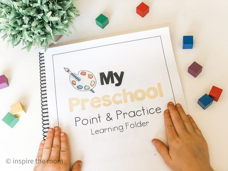 printable preschool point and practice learning folder cover