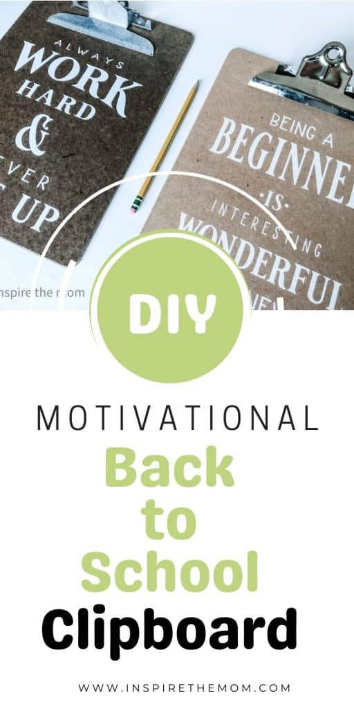 motivational back to school clipboard diy pin