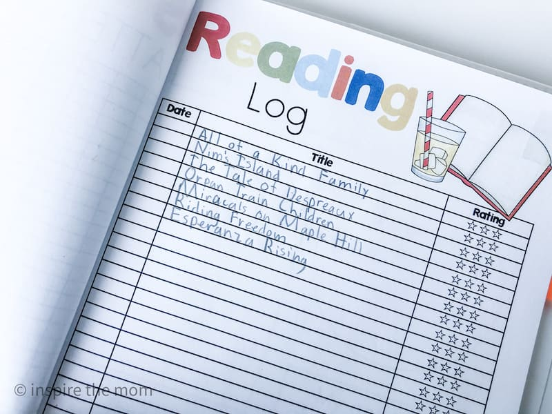 Homeschool forms reading log