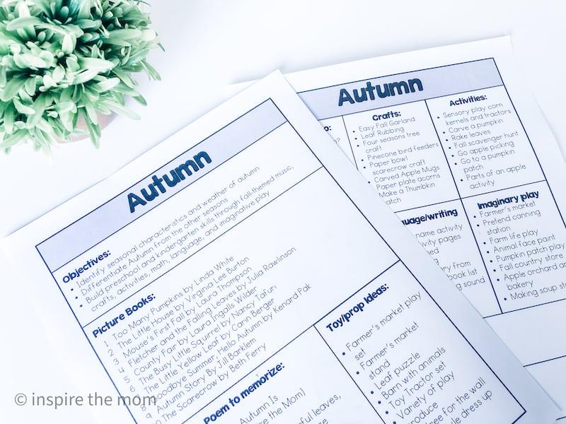 autumn unit study plan