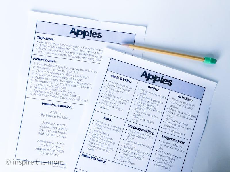apple unit study plan