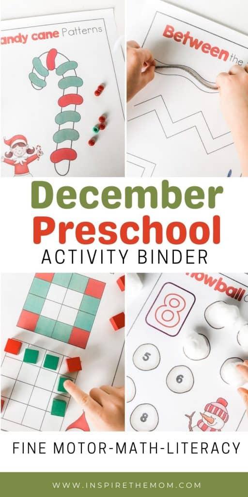 December preschool activity binder pin